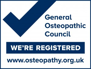 A logo to confirm that all osteopaths are registered by the general osteopathic council